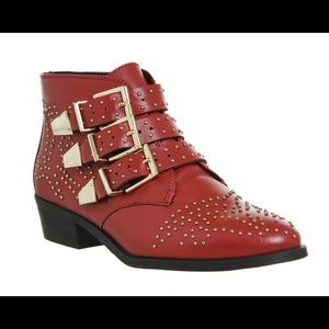 Red Studded Booties